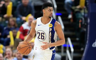 INDIANAPOLIS, INDIANA - JANUARY 02: Jeremy Lamb #26 of the Indiana Pacers dribbles the ball during the game against the Denver Nuggets at Bankers Life Fieldhouse on January 02, 2020 in Indianapolis, Indiana.    NOTE TO USER: User expressly acknowledges and agrees that, by downloading and or using this photograph, User is consenting to the terms and conditions of the Getty Images License Agreement. (Photo by Andy Lyons/Getty Images)