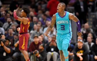 CLEVELAND, OHIO - JANUARY 02: Terry Rozier #3 of the Charlotte Hornets celebrates after hitting a three-point-shot over Collin Sexton #2 of the Cleveland Cavaliers during the second half at Rocket Mortgage Fieldhouse on January 02, 2020 in Cleveland, Ohio. The Hornets defeated the Cavaliers 109-106. NOTE TO USER: User expressly acknowledges and agrees that, by downloading and/or using this photograph, user is consenting to the terms and conditions of the Getty Images License Agreement. (Photo by Jason Miller/Getty Images)