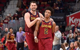 CLEVELAND, OH - JANUARY 2: Kevin Love #0 and Collin Sexton #2 of the Cleveland Cavaliers looks on during the game against the Charlotte Hornets on January 2, 2020 at Rocket Mortgage FieldHouse in Cleveland, Ohio. NOTE TO USER: User expressly acknowledges and agrees that, by downloading and/or using this Photograph, user is consenting to the terms and conditions of the Getty Images License Agreement. Mandatory Copyright Notice: Copyright 2020 NBAE (Photo by David Liam Kyle/NBAE via Getty Images)
