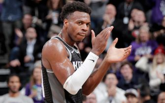 SACRAMENTO, CA - JANUARY 2: Buddy Hield #24 of the Sacramento Kings celebrates during the game against the Memphis Grizzlies on January 2, 2020 at Golden 1 Center in Sacramento, California. NOTE TO USER: User expressly acknowledges and agrees that, by downloading and or using this Photograph, user is consenting to the terms and conditions of the Getty Images License Agreement. Mandatory Copyright Notice: Copyright 2020 NBAE (Photo by Rocky Widner/NBAE via Getty Images)