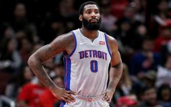 CHICAGO, ILLINOIS - NOVEMBER 20: Andre Drummond #0 of the Detroit Pistons looks on in the second quarter against the Chicago Bulls at the United Center on November 20, 2019 in Chicago, Illinois. NOTE TO USER: User expressly acknowledges and agrees that, by downloading and or using this photograph, User is consenting to the terms and conditions of the Getty Images License Agreement. (Photo by Dylan Buell/Getty Images)