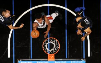 ORLANDO, FL - JANUARY 1: Jimmy Butler #22 of the Miami Heat shoots the ball against the Orlando Magic on January 1, 2020 at Amway Center in Orlando, Florida. NOTE TO USER: User expressly acknowledges and agrees that, by downloading and or using this photograph, User is consenting to the terms and conditions of the Getty Images License Agreement. Mandatory Copyright Notice: Copyright 2020 NBAE (Photo by Fernando Medina/NBAE via Getty Images)