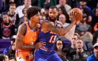 PHOENIX, AZ - JANUARY 3: Marcus Morris Sr. #13 of the New York Knicks handles the ball against the Phoenix Suns on January 3, 2020 at Talking Stick Resort Arena in Phoenix, Arizona. NOTE TO USER: User expressly acknowledges and agrees that, by downloading and or using this photograph, user is consenting to the terms and conditions of the Getty Images License Agreement. Mandatory Copyright Notice: Copyright 2020 NBAE (Photo by Barry Gossage/NBAE via Getty Images)