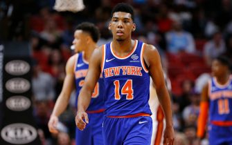 MIAMI, FLORIDA - DECEMBER 20:  Allonzo Trier #14 of the New York Knicks looks on against the Miami Heat during the second half at American Airlines Arena on December 20, 2019 in Miami, Florida. NOTE TO USER: User expressly acknowledges and agrees that, by downloading and/or using this photograph, user is consenting to the terms and conditions of the Getty Images License Agreement.  (Photo by Michael Reaves/Getty Images)