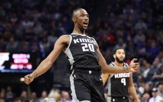 SACRAMENTO, CALIFORNIA - JANUARY 04:  Harry Giles III #20 of the Sacramento Kings reacts after he shot the ball against the New Orleans Pelicans at Golden 1 Center on January 04, 2020 in Sacramento, California.  NOTE TO USER: User expressly acknowledges and agrees that, by downloading and/or using this photograph, user is consenting to the terms and conditions of the Getty Images License Agreement.  (Photo by Ezra Shaw/Getty Images)