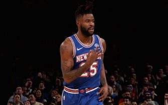 NEW YORK, NY - JANUARY 1: Reggie Bullock #25 of the New York Knicks reacts to a play against the Portland Trail Blazers on January 1, 2020 at Madison Square Garden in New York City, New York.  NOTE TO USER: User expressly acknowledges and agrees that, by downloading and or using this photograph, User is consenting to the terms and conditions of the Getty Images License Agreement. Mandatory Copyright Notice: Copyright 2020 NBAE  (Photo by Nathaniel S. Butler/NBAE via Getty Images)
