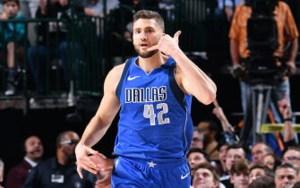 DALLAS, TX - JANUARY 4: Maxi Kleber #42 of the Dallas Mavericks reacts to play against the Charlotte Hornets on January 4, 2020 at the American Airlines Center in Dallas, Texas. NOTE TO USER: User expressly acknowledges and agrees that, by downloading and or using this photograph, User is consenting to the terms and conditions of the Getty Images License Agreement. Mandatory Copyright Notice: Copyright 2020 NBAE (Photo by Glenn James/NBAE via Getty Images)