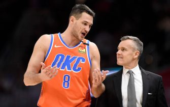 CLEVELAND, OHIO - JANUARY 04: Danilo Gallinari #8 talks with head coach Billy Donovan of the Oklahoma City Thunder during the second half at Rocket Mortgage Fieldhouse on January 04, 2020 in Cleveland, Ohio. The Thunder defeated the Cavaliers 121-106. NOTE TO USER: User expressly acknowledges and agrees that, by downloading and/or using this photograph, user is consenting to the terms and conditions of the Getty Images License Agreement. (Photo by Jason Miller/Getty Images)