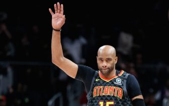 ATLANTA, GA - JANUARY 4: Vince Carter #15 of the Atlanta Hawks gestures to the crowd during the first quarter of a game against the Indiana Pacers at State Farm Arena on January 4, 2020 in Atlanta, Georgia. NOTE TO USER: User expressly acknowledges and agrees that, by downloading and or using this photograph, User is consenting to the terms and conditions of the Getty Images License Agreement. (Photo by Carmen Mandato/Getty Images)