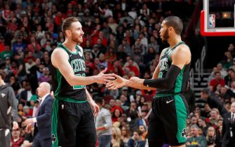 CHICAGO, IL - JANUARY 4: Gordon Hayward #20, and Jayson Tatum #0 of the Boston Celtics hi-five each other during the game against the Chicago Bulls on January 4, 2020 at United Center in Chicago, Illinois. NOTE TO USER: User expressly acknowledges and agrees that, by downloading and or using this photograph, User is consenting to the terms and conditions of the Getty Images License Agreement. Mandatory Copyright Notice: Copyright 2020 NBAE (Photo by Jeff Haynes/NBAE via Getty Images)