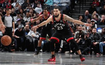 BROOKLYN, NY - JANUARY 4: Fred VanVleet #23 of the Toronto Raptors plays defense against the Brooklyn Nets on January 4, 2020 at Barclays Center in Brooklyn, New York. NOTE TO USER: User expressly acknowledges and agrees that, by downloading and or using this Photograph, user is consenting to the terms and conditions of the Getty Images License Agreement. Mandatory Copyright Notice: Copyright 2020 NBAE (Photo by Nathaniel S. Butler/NBAE via Getty Images)