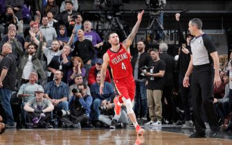 SACRAMENTO, CA - JANUARY 4: JJ Redick #4 of the New Orleans Pelicans reacts to hitting the game winning shot against the Sacramento Kings on January 4, 2020 at Golden 1 Center in Sacramento, California. NOTE TO USER: User expressly acknowledges and agrees that, by downloading and or using this Photograph, user is consenting to the terms and conditions of the Getty Images License Agreement. Mandatory Copyright Notice: Copyright 2020 NBAE (Photo by Rocky Widner/NBAE via Getty Images)