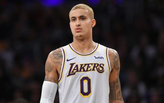 LOS ANGELES, CA - JANUARY 01: Kyle Kuzma #0 of the Los Angeles Lakers dyed his hair blonde before playing the Phoenix Suns at Staples Center on January 1, 2020 in Los Angeles, California. NOTE TO USER: User expressly acknowledges and agrees that, by downloading and/or using this photograph, user is consenting to the terms and conditions of the Getty Images License Agreement. Lakers won 117 to 107. (Photo by John McCoy/Getty Images)