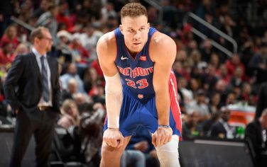 DETROIT, MI - DECEMBER 18: Blake Griffin #23 of the Detroit Pistons looks on against the Toronto Raptors on December 18, 2019 at Little Caesars Arena in Detroit, Michigan. NOTE TO USER: User expressly acknowledges and agrees that, by downloading and/or using this photograph, User is consenting to the terms and conditions of the Getty Images License Agreement. Mandatory Copyright Notice: Copyright 2019 NBAE (Photo by Chris Schwegler/NBAE via Getty Images)