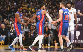 LOS ANGELES, CA - JANUARY 5: Langston Galloway #9, Derrick Rose #25, and Sviatoslav Mykhailiuk #19 of the Detroit Pistons hi-five during the game against the Los Angeles Lakers on January 5, 2020 at STAPLES Center in Los Angeles, California. NOTE TO USER: User expressly acknowledges and agrees that, by downloading and/or using this Photograph, user is consenting to the terms and conditions of the Getty Images License Agreement. Mandatory Copyright Notice: Copyright 2020 NBAE (Photo by Andrew D. Bernstein/NBAE via Getty Images)