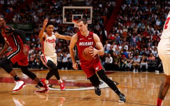 MIAMI, FL - JANUARY 5: Goran Dragic #7 of the Miami Heat handles the ball against the Portland Trail Blazers on January 5, 2020 at American Airlines Arena in Miami, Florida. NOTE TO USER: User expressly acknowledges and agrees that, by downloading and or using this Photograph, user is consenting to the terms and conditions of the Getty Images License Agreement. Mandatory Copyright Notice: Copyright 2020 NBAE (Photo by Issac Baldizon/NBAE via Getty Images)