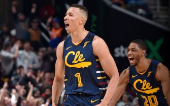 CLEVELAND, OH - JANUARY 5: Dante Exum #1 of the Cleveland Cavaliers celebrates during the game against the Minnesota Timberwolves on January 5, 2020 at Rocket Mortgage FieldHouse in Cleveland, Ohio. NOTE TO USER: User expressly acknowledges and agrees that, by downloading and/or using this Photograph, user is consenting to the terms and conditions of the Getty Images License Agreement. Mandatory Copyright Notice: Copyright 2020 NBAE (Photo by David Liam Kyle/NBAE via Getty Images)