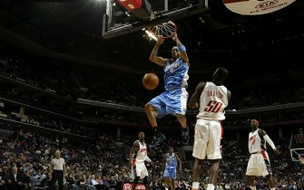 CHARLOTTE, NC - JANUARY 14:  Kenyon Martin #4 of the Denver Nuggets dunks against the Charlotte Bobcats on January 14, 2008 at the Charlotte Bobcats Arena in Charlotte, North Carolina.  NOTE TO USER: User expressly acknowledges and agrees that, by downloading and or using this photograph, User is consenting to the terms and conditions of the Getty Images License Agreement.  Mandatory Copyright Notice:  Copyright 2008 NBAE (Photo by Kent Smith/NBAE via Getty Images)
