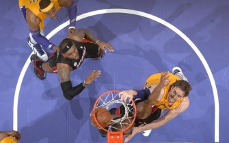 LOS ANGELES, CA - JANUARY 17: Pau Gasol #16 of the Los Angeles Lakers dunks against the Miami Heat at Staples Center on January 15, 2013 in Los Angeles, California. NOTE TO USER: User expressly acknowledges and agrees that, by downloading and/or using this Photograph, user is consenting to the terms and conditions of the Getty Images License Agreement. Mandatory Copyright Notice: Copyright 2013 NBAE (Photo by Andrew D. Bernstein/NBAE via Getty Images)