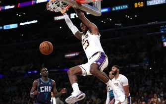 LOS ANGELES, CALIFORNIA - OCTOBER 27:  LeBron James #23 of the Los Angeles Lakers dunks the ball during the second half of a game against the Charlotte Hornets   at Staples Center on October 27, 2019 in Los Angeles, California. (Photo by Sean M. Haffey/Getty Images)