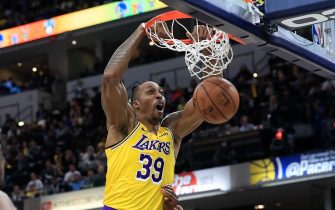 INDIANAPOLIS, INDIANA - DECEMBER 17:   Dwight Howard #39 of the Los Angeles Lakers dunks the ball during the game against the Indiana Pacers at Bankers Life Fieldhouse on December 17, 2019 in Indianapolis, Indiana.     NOTE TO USER: User expressly acknowledges and agrees that, by downloading and or using this photograph, User is consenting to the terms and conditions of the Getty Images License Agreement. (Photo by Andy Lyons/Getty Images)