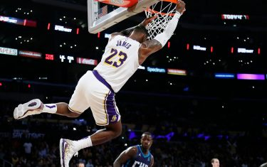 LOS ANGELES, CA - OCTOBER 27: LeBron James #23 of the Los Angeles Lakers dunks the ball against the Charlotte Hornets on October 27, 2019 at STAPLES Center in Los Angeles, California. NOTE TO USER: User expressly acknowledges and agrees that, by downloading and/or using this Photograph, user is consenting to the terms and conditions of the Getty Images License Agreement. Mandatory Copyright Notice: Copyright 2019 NBAE (Photo by Chris Elise/NBAE via Getty Images)