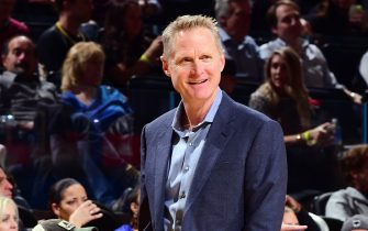 SAN FRANCISCO, CA - JANUARY 4:  Steve Kerr of the Golden State Warriors reacts to a play during the game against the Detroit Pistons on January 4, 2020 at Chase Center in San Francisco, California. NOTE TO USER: User expressly acknowledges and agrees that, by downloading and or using this photograph, user is consenting to the terms and conditions of Getty Images License Agreement. Mandatory Copyright Notice: Copyright 2020 NBAE (Photo by Noah Graham/NBAE via Getty Images)