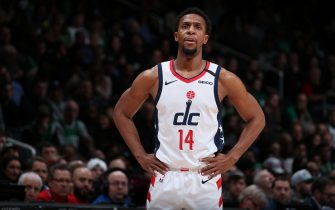 WASHINGTON, DC - JANUARY 6: Ish Smith #14 of the Washington Wizards looks on during the game against the Boston Celtics on January 6, 2020 at Capital One Arena in Washington, DC. NOTE TO USER: User expressly acknowledges and agrees that, by downloading and or using this Photograph, user is consenting to the terms and conditions of the Getty Images License Agreement. Mandatory Copyright Notice: Copyright 2020 NBAE (Photo by Ned Dishman/NBAE via Getty Images)