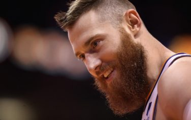 PHOENIX, ARIZONA - OCTOBER 28: Aron Baynes #46 of the Phoenix Suns during the second half of the NBA game against the Utah Jazz at Talking Stick Resort Arena on October 28, 2019 in Phoenix, Arizona. The Jazz defeated the Suns 96-95. NOTE TO USER: User expressly acknowledges and agrees that, by downloading and/or using this photograph, user is consenting to the terms and conditions of the Getty Images License Agreement  (Photo by Christian Petersen/Getty Images)