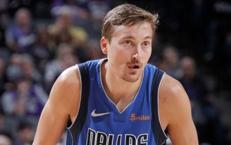 SACRAMENTO, CA - MARCH 21: Ryan Broekhoff #45 of the Dallas Mavericks looks on during the game against the Sacramento Kings on March 21, 2019 at Golden 1 Center in Sacramento, California. NOTE TO USER: User expressly acknowledges and agrees that, by downloading and or using this photograph, User is consenting to the terms and conditions of the Getty Images Agreement. Mandatory Copyright Notice: Copyright 2019 NBAE (Photo by Rocky Widner/NBAE via Getty Images)