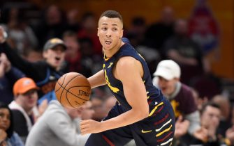 CLEVELAND, OHIO - JANUARY 05: Danté Exum #1 of the Cleveland Cavaliers drives down court during the second half against the Minnesota Timberwolves at Rocket Mortgage Fieldhouse on January 05, 2020 in Cleveland, Ohio. The Timberwolves defeated the Cavaliers 118-103. NOTE TO USER: User expressly acknowledges and agrees that, by downloading and/or using this photograph, user is consenting to the terms and conditions of the Getty Images License Agreement. (Photo by Jason Miller/Getty Images)