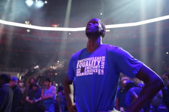 DETROIT, MI - FEBRUARY 11: Thon Maker #7 of the Detroit Pistons looks on prior to the game against the Washington Wizards on February 11, 2019 at Little Caesars Arena in Detroit, Michigan. NOTE TO USER: User expressly acknowledges and agrees that, by downloading and/or using this photograph, User is consenting to the terms and conditions of the Getty Images License Agreement. Mandatory Copyright Notice: Copyright 2019 NBAE (Photo by Brian Sevald/NBAE via Getty Images)
