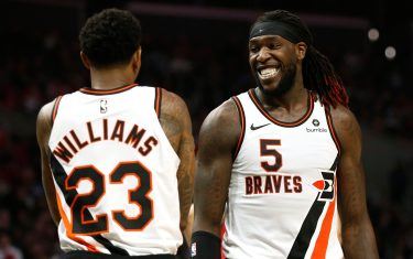 LOS ANGELES, CALIFORNIA - DECEMBER 03:  Lou Williams #23 of the Los Angeles Clippers and Montrezl Harrell #5 of the Los Angeles Clippers talk during the second half against the Portland Trail Blazers at Staples Center on December 03, 2019 in Los Angeles, California. NOTE TO USER: User expressly acknowledges and agrees that, by downloading and or using this photograph, User is consenting to the terms and conditions of the Getty Images License Agreement. (Photo by Katharine Lotze/Getty Images)