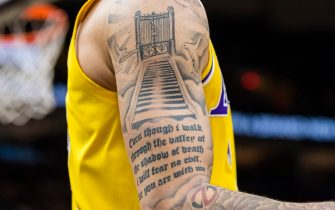 CLEVELAND, OH - NOVEMBER 21: The tattoos of Lonzo Ball #2 of the Los Angeles Lakers during the second half against the Cleveland Cavaliers at Quicken Loans Arena on November 21, 2018 in Cleveland, Ohio. The Lakers defeated the Cavaliers 109-105. NOTE TO USER: User expressly acknowledges and agrees that, by downloading and/or using this photograph, user is consenting to the terms and conditions of the Getty Images License Agreement. (Photo by Jason Miller/Getty Images)