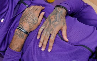 SACRAMENTO, CA - NOVEMBER 7: A shot of the tattoos belonging to Willie Cauley-Stein #00 of the Sacramento Kings prior to the game against the Toronto Raptors on November 7, 2018 at Golden 1 Center in Sacramento, California. NOTE TO USER: User expressly acknowledges and agrees that, by downloading and or using this photograph, User is consenting to the terms and conditions of the Getty Images Agreement. Mandatory Copyright Notice: Copyright 2018 NBAE (Photo by Rocky Widner/NBAE via Getty Images)