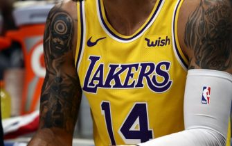 DALLAS, TEXAS - NOVEMBER 01:  The Los Angeles Lakers jersey of Danny Green #14 at American Airlines Center on November 01, 2019 in Dallas, Texas.  NOTE TO USER: User expressly acknowledges and agrees that, by downloading and or using this photograph, User is consenting to the terms and conditions of the Getty Images License Agreement. (Photo by Ronald Martinez/Getty Images)