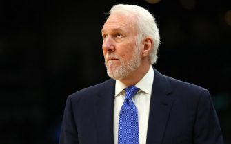 BOSTON, MASSACHUSETTS - JANUARY 08: Head Coach Gregg Popovich of the San Antonio Spurs looks on during the game against the Boston Celtics  at TD Garden on January 08, 2020 in Boston, Massachusetts. (Photo by Maddie Meyer/Getty Images)
