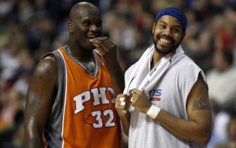 AUBURN HILLS, MI - MARCH 24:  Rasheed Wallace #36 of the Detroit Pistons has a laugh with Shaquille O'Neal #32 of the Phoenix Suns on March 24, 2008 at the Palace of Auburn Hills in Auburn Hills, Michigan. Detroit won the game 110-105. NOTE TO USER: User expressly acknowledges and agrees that, by downloading and or using this photograph, User is consenting to the terms and conditions of the Getty Images License Agreement.  (Photo by Gregory Shamus/Getty Images)