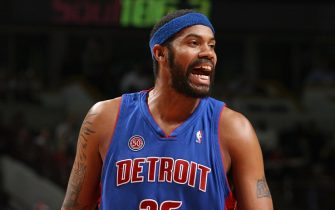 CHICAGO - NOVEMBER 8:  Rasheed Wallace #36 of the Detroit Pistons reacts during a game against the Chicago Bulls at the United Center on November 8, 2007 in Chicago, Illinois.  The Bulls won 97-93.  NOTE TO USER: User expressly acknowledges and agrees that, by downloading and/or using this Photograph, User is consenting to the terms and conditions of the Getty Images License Agreement. Mandatory Copyright Notice: Copyright 2007 NBAE (Photo by Gary Dineen/NBAE via Getty Images)