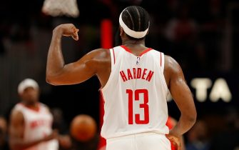 ATLANTA, GEORGIA - JANUARY 08:  James Harden #13 of the Houston Rockets reacts after hitting a three-point basket against the Atlanta Hawks in the second half at State Farm Arena on January 08, 2020 in Atlanta, Georgia.  NOTE TO USER: User expressly acknowledges and agrees that, by downloading and/or using this photograph, user is consenting to the terms and conditions of the Getty Images License Agreement.  (Photo by Kevin C. Cox/Getty Images)