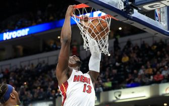 INDIANAPOLIS, INDIANA - JANUARY 08:   Bam Adebayo #13 of the Miami Heat shoots the ball against the Indiana Pacers at Bankers Life Fieldhouse on January 08, 2020 in Indianapolis, Indiana.    NOTE TO USER: User expressly acknowledges and agrees that, by downloading and or using this photograph, User is consenting to the terms and conditions of the Getty Images License Agreement. (Photo by Andy Lyons/Getty Images)