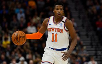 SALT LAKE CITY, UT - JANUARY 08: Frank Ntilikina #11 of the New York Knicks in action during a game against the Utah Jazz at Vivint Smart Home Arena on January 8, 2019 in Salt Lake City, Utah. NOTE TO USER: User expressly acknowledges and agrees that, by downloading and/or using this photograph, user is consenting to the terms and conditions of the Getty Images License Agreement.  (Photo by Alex Goodlett/Getty Images)