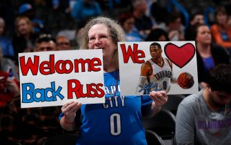 OKLAHOMA CITY, OK - JANUARY 9: Fan holds a sign welcoming Russell Westbrook #0 of the Houston Rockets back to the arena before the game on January 9, 2020 at Chesapeake Energy Arena in Oklahoma City, Oklahoma. NOTE TO USER: User expressly acknowledges and agrees that, by downloading and or using this photograph, User is consenting to the terms and conditions of the Getty Images License Agreement. Mandatory Copyright Notice: Copyright 2020 NBAE (Photo by Jeff Haynes/NBAE via Getty Images)
