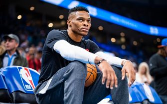 OKLAHOMA CITY, OK - JANUARY 9: Russell Westbrook #0 of the Houston Rockets looks on before the game against the Oklahoma City Thunder on January 9, 2020 at Chesapeake Energy Arena in Oklahoma City, Oklahoma. NOTE TO USER: User expressly acknowledges and agrees that, by downloading and or using this photograph, User is consenting to the terms and conditions of the Getty Images License Agreement. Mandatory Copyright Notice: Copyright 2020 NBAE (Photo by Zach Beeker/NBAE via Getty Images)