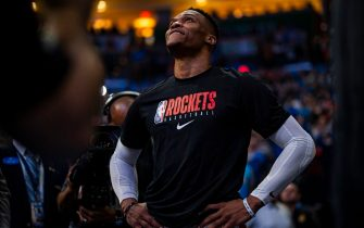 OKLAHOMA CITY, OK - JANUARY 9: Russell Westbrook #0 of the Houston Rockets watches the tribute video put on for him by the Oklahoma City Thunder on January 9, 2020 at Chesapeake Energy Arena in Oklahoma City, Oklahoma. NOTE TO USER: User expressly acknowledges and agrees that, by downloading and or using this photograph, User is consenting to the terms and conditions of the Getty Images License Agreement. Mandatory Copyright Notice: Copyright 2020 NBAE (Photo by Zach Beeker/NBAE via Getty Images)