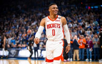OKLAHOMA CITY, OK - JANUARY 9: Russell Westbrook #0 of the Houston Rockets warms up before the game against the Oklahoma City Thunder on January 9, 2020 at Chesapeake Energy Arena in Oklahoma City, Oklahoma. NOTE TO USER: User expressly acknowledges and agrees that, by downloading and or using this photograph, User is consenting to the terms and conditions of the Getty Images License Agreement. Mandatory Copyright Notice: Copyright 2020 NBAE (Photo by Zach Beeker/NBAE via Getty Images)