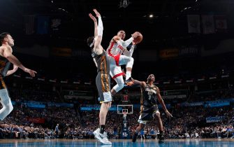 OKLAHOMA CITY, OK - JANUARY 9: Russell Westbrook #0 of the Houston Rockets drives to the basket against the Oklahoma City Thunder on January 9, 2020 at Chesapeake Energy Arena in Oklahoma City, Oklahoma. NOTE TO USER: User expressly acknowledges and agrees that, by downloading and or using this photograph, User is consenting to the terms and conditions of the Getty Images License Agreement. Mandatory Copyright Notice: Copyright 2020 NBAE (Photo by Jeff Haynes/NBAE via Getty Images)