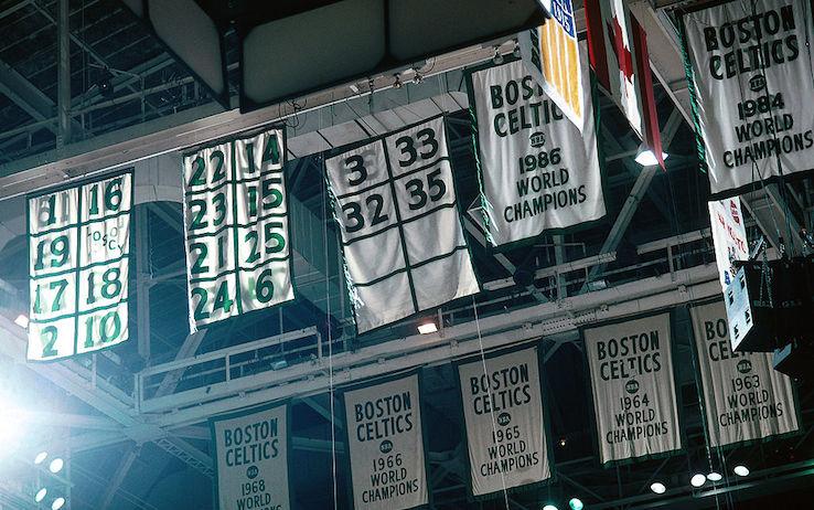 I banners dei trionfi dei Celtics
