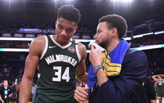 SAN FRANCISCO, CA - JANUARY 8: Giannis Antetokounmpo #34 of the Milwaukee Bucks and Stephen Curry #30 of the Golden State Warriors talk after a game on January 8, 2020 at Chase Center in San Francisco, California. NOTE TO USER: User expressly acknowledges and agrees that, by downloading and or using this photograph, user is consenting to the terms and conditions of Getty Images License Agreement. Mandatory Copyright Notice: Copyright 2020 NBAE (Photo by Noah Graham/NBAE via Getty Images)