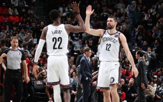 NEW YORK, NY - JANUARY 10: Caris LeVert #22 and Joe Harris #12 of the Brooklyn Nets high five each other during the game against the Miami Heat on January 10, 2020 at Madison Square Garden in New York City, New York.  NOTE TO USER: User expressly acknowledges and agrees that, by downloading and or using this photograph, User is consenting to the terms and conditions of the Getty Images License Agreement. Mandatory Copyright Notice: Copyright 2020 NBAE  (Photo by Nathaniel S. Butler/NBAE via Getty Images)